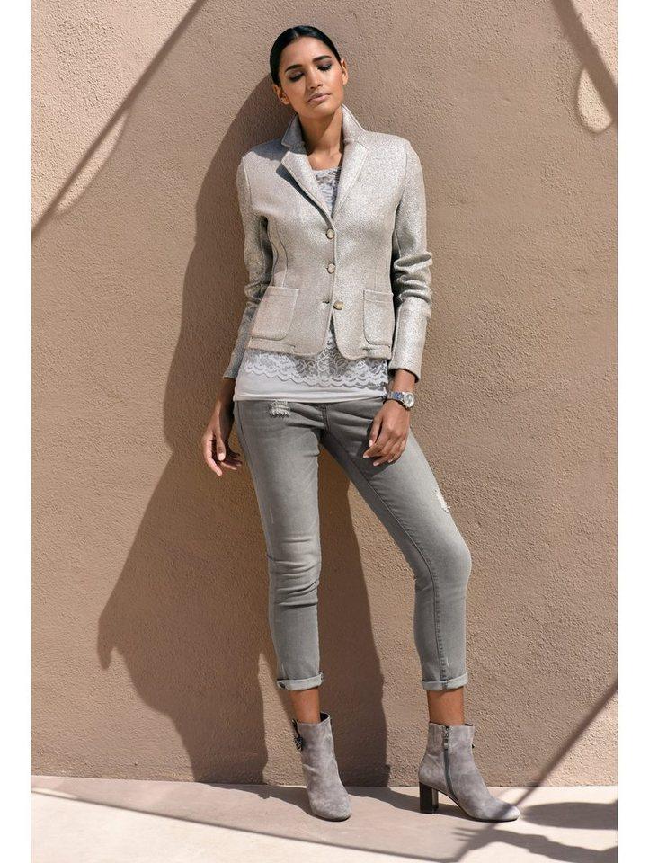 Damen Alba Moda Blazer mit silberfarbenen Folienprint grau | 04055717452990