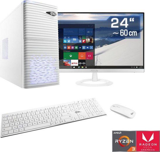 "CSL Sprint T8162 Gaming-PC-Komplettsystem (24"", AMD Ryzen 3, Radeon Vega 8, 16 GB RAM, 1000 GB HDD, 240 GB SSD)"