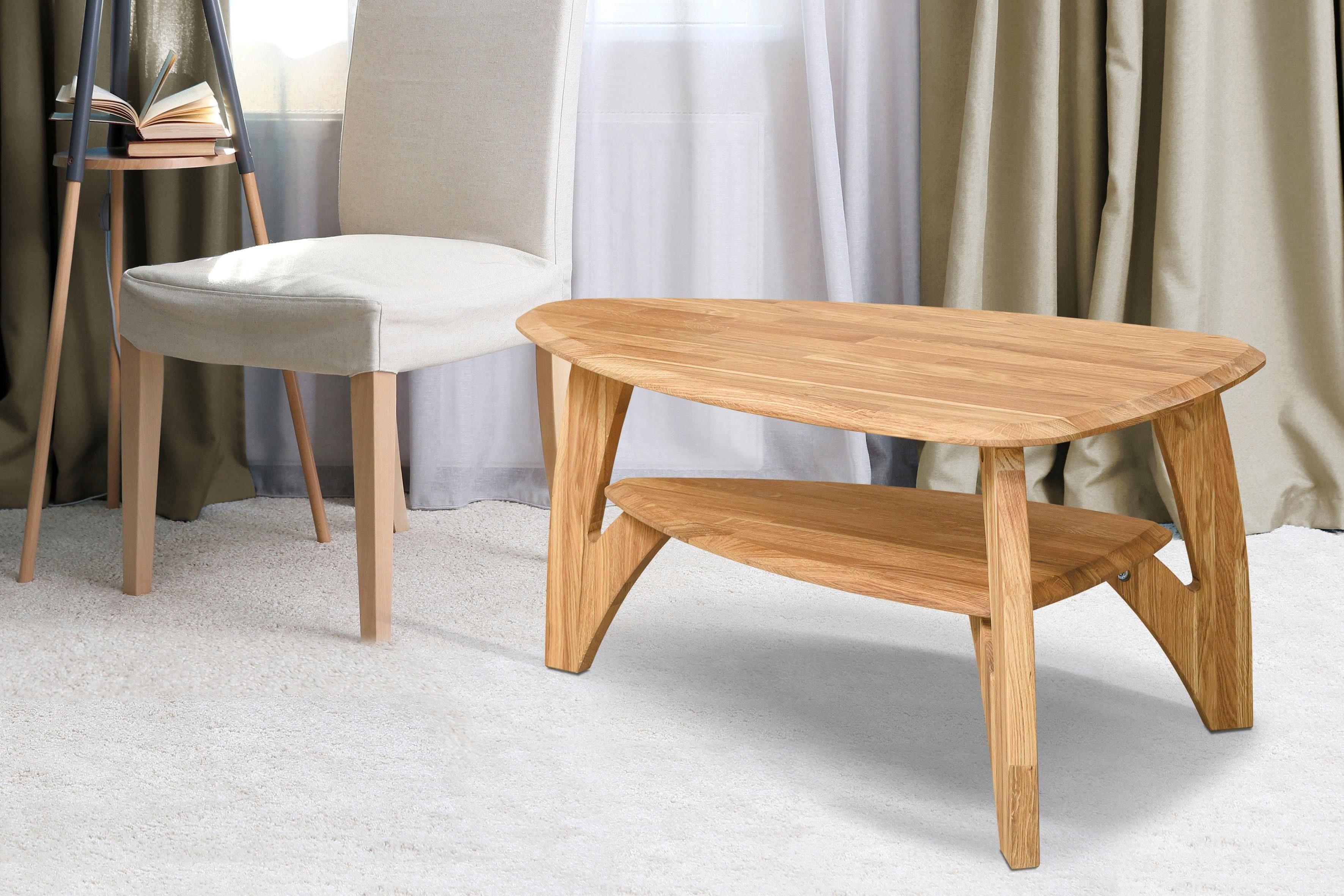 Home affaire Couchtisch »Oja« in ovaler Form, aus massivem Eichenholz, Breite 90 cm