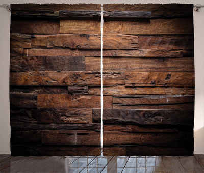 Gardine »Schlafzimmer Kräuselband Vorhang mit Schlaufen und Haken«, Abakuhaus, Schokolade Raue Dunkle Holz