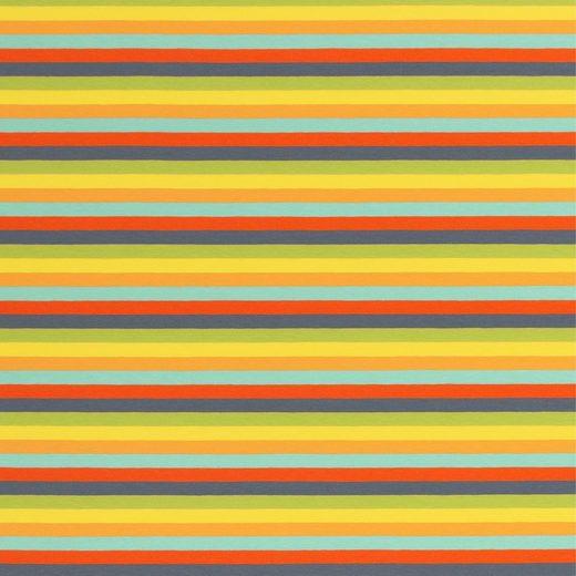 larissastoffe Stoff »Jersey Stoff Streifen, Swafing Gala bunt gelb«, Stoffe zum Nähen, Meterware, 50 cm x volle Breite