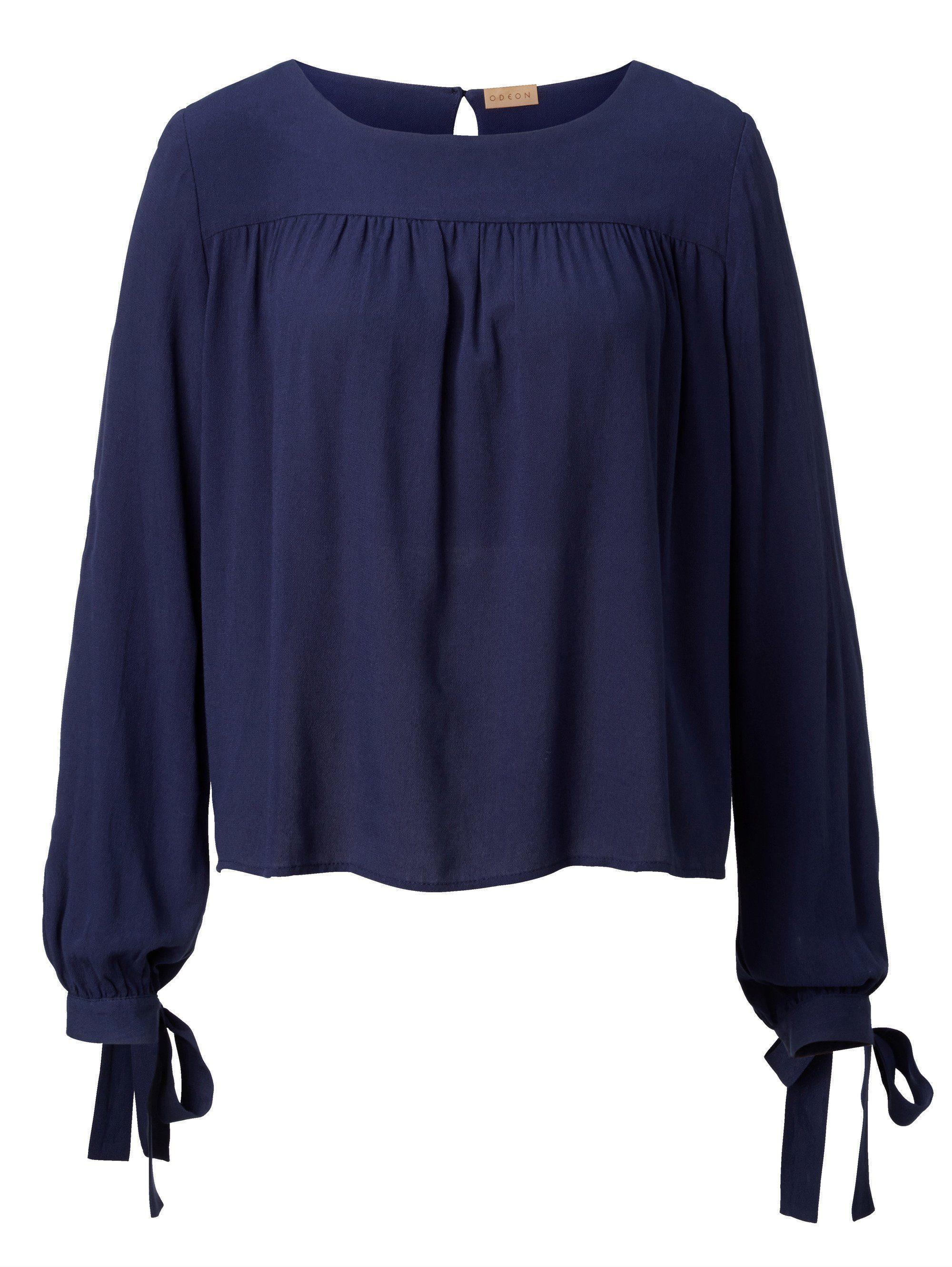 ODEON Bluse mit Bindebändern am Armabschluss