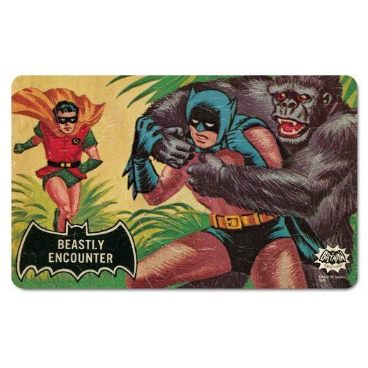 LOGOSHIRT Frühstücksbrettchen mit Original-Motiv »Batman – Tierische Begegnung«