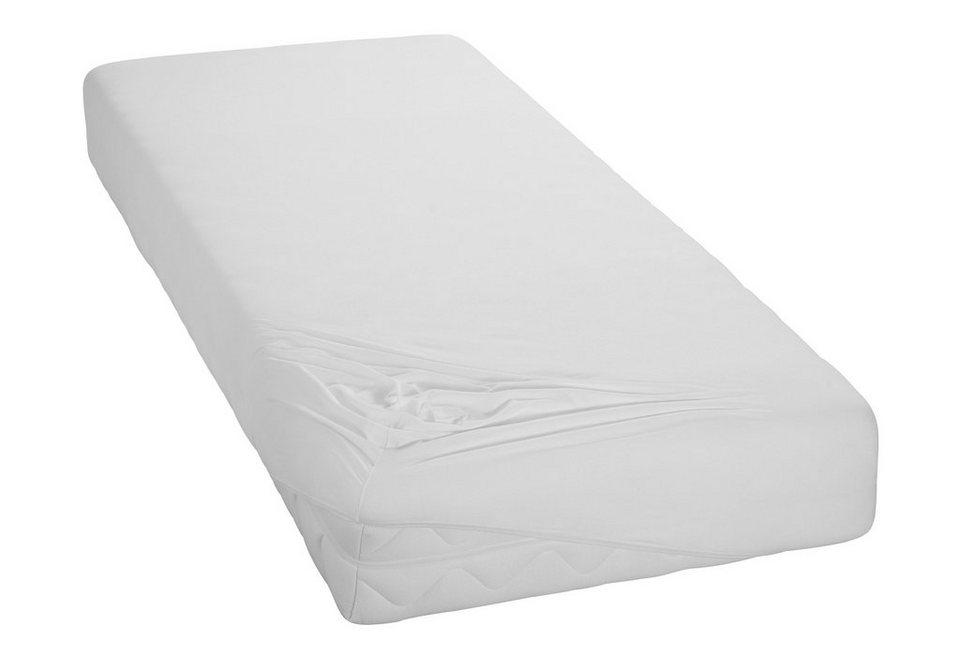 Spannbettlaken, my home, »Jersey«, mit glatter Oberfläche in weiß
