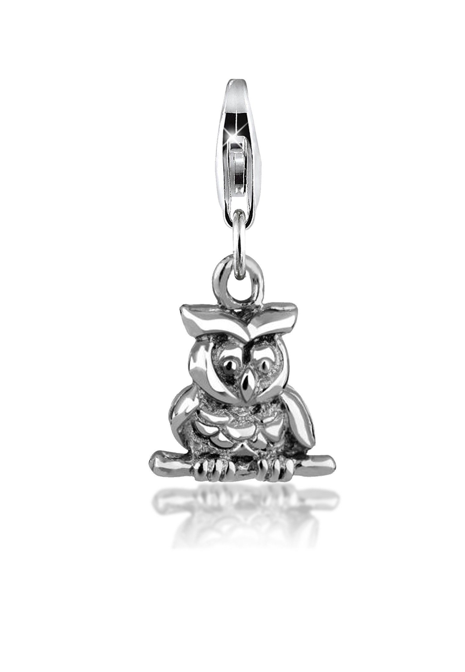 Nenalina Charm-Einhänger »Eulen-Anhänger Boho Basic Kettencharm 925er Silber«