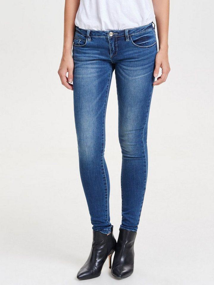 e3c1ce62fa64 Only Coral Skinny-Fit-Jeans mit Superlow Waist und 5 Gürtelschlaufen ...