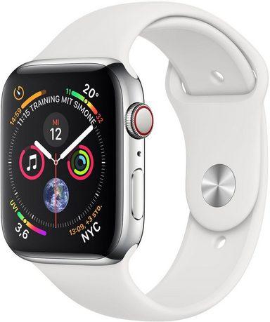 Apple Series 4 GPS + Cellular, Edelstahlgehäuse mit Sportarmband 40mm Watch (Watch OS 5)