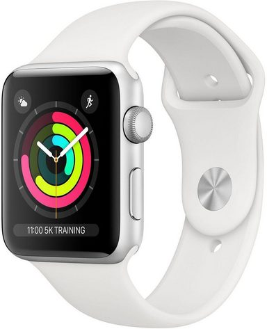 Apple Series 3 GPS, Aluminiumgehäuse mit Sportarmband 42mm Watch (Watch OS 5)