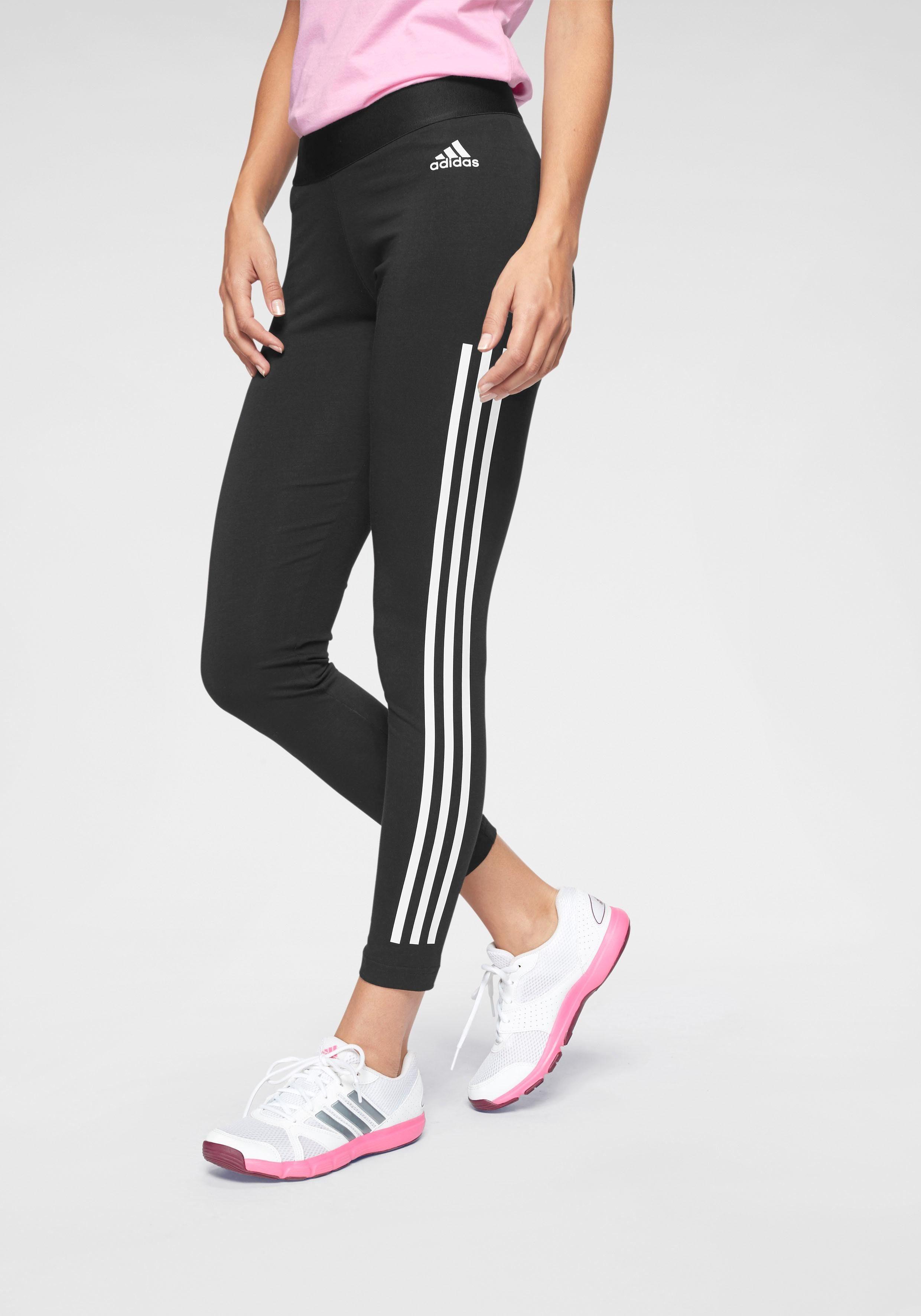 adidas Leggings 3 Streifen für Damen, Farbe:Schwarz, Damen Größen:M
