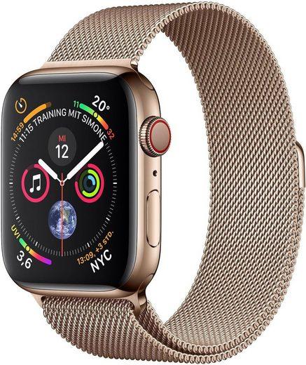 Apple Series 4 GPS + Cellular, Edelstahlgehäuse mit Milanaise Armband 44mm Watch (Watch OS 5)