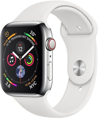 Apple Series 4 GPS + Cellular, Edelstahlgehäuse mit Sportarmband 44mm Watch (Watch OS 5)