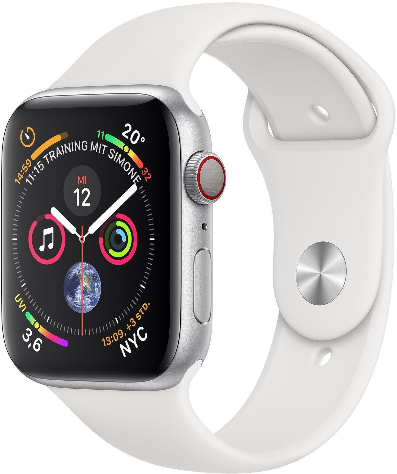 Series 4 GPS + Cellular, Aluminiumgehäuse mit Sportarmband 44mm Watch (watchOS 5)