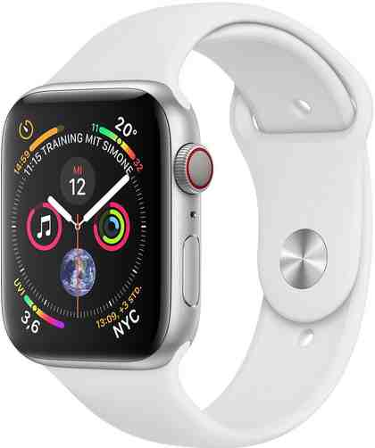 Apple Series 4 GPS + Cellular, Aluminiumgehäuse mit Sportarmband 44mm Watch (Watch OS 5)