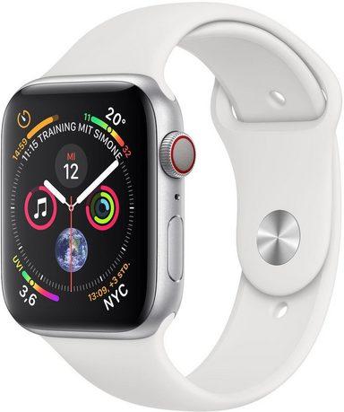 Apple Series 4 GPS + Cellular, Aluminiumgehäuse mit Sportarmband 44mm Watch (Watch OS 5)