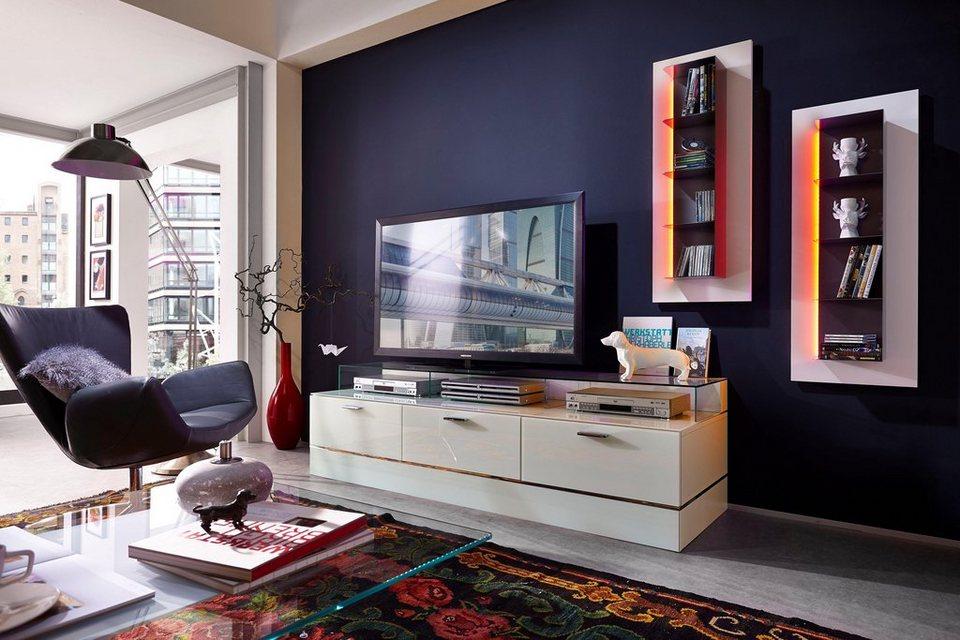 Leonardo Living Tv Bank Cube Für Die Lowboards Mit 3 Glasfächern