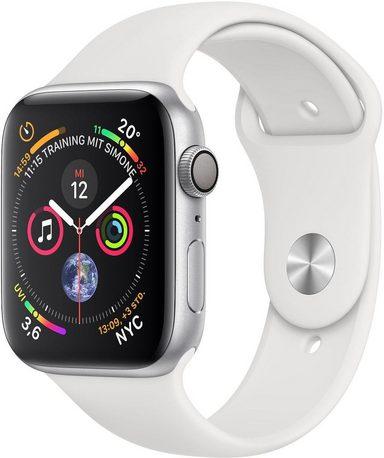 Apple Series 4 GPS, Aluminiumgehäuse mit Sportarmband 44mm Watch (Watch OS 5)