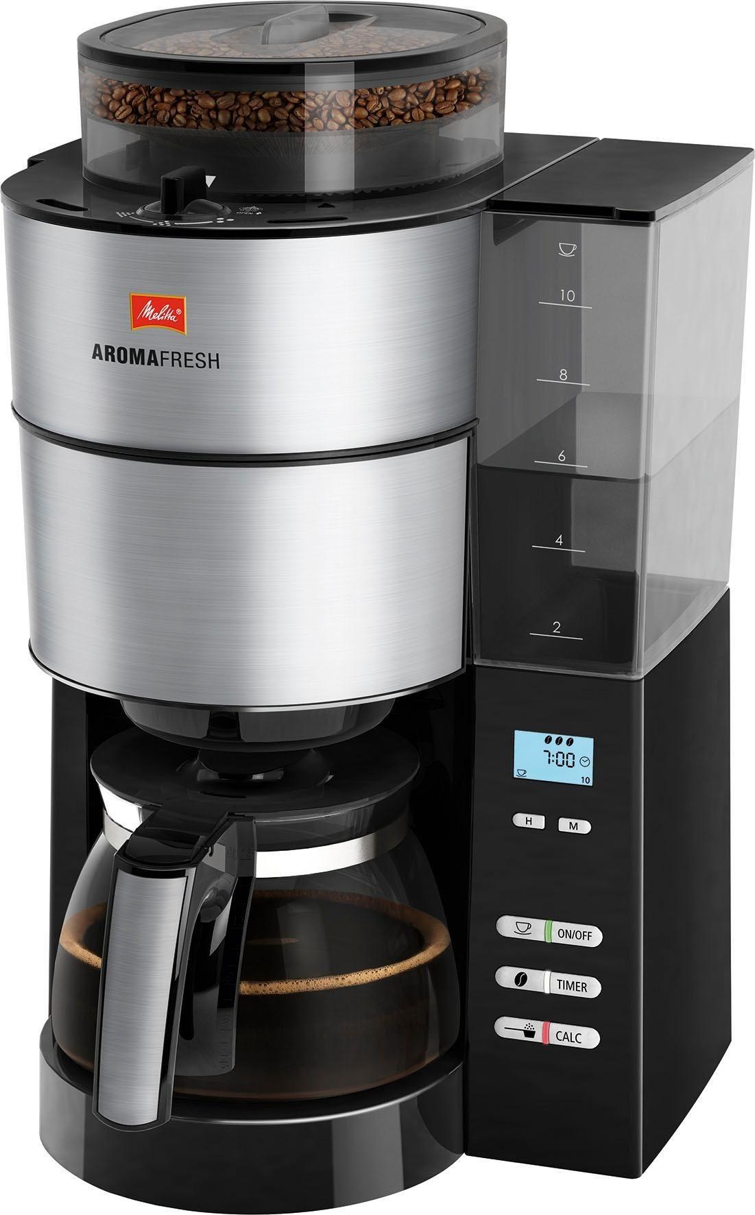 Kaffeemaschine mit Mahlwerk AromaFresh 1021-01, Filterkaffeemaschine mit integriertem Mahlwerk, Papierfilter 1x4