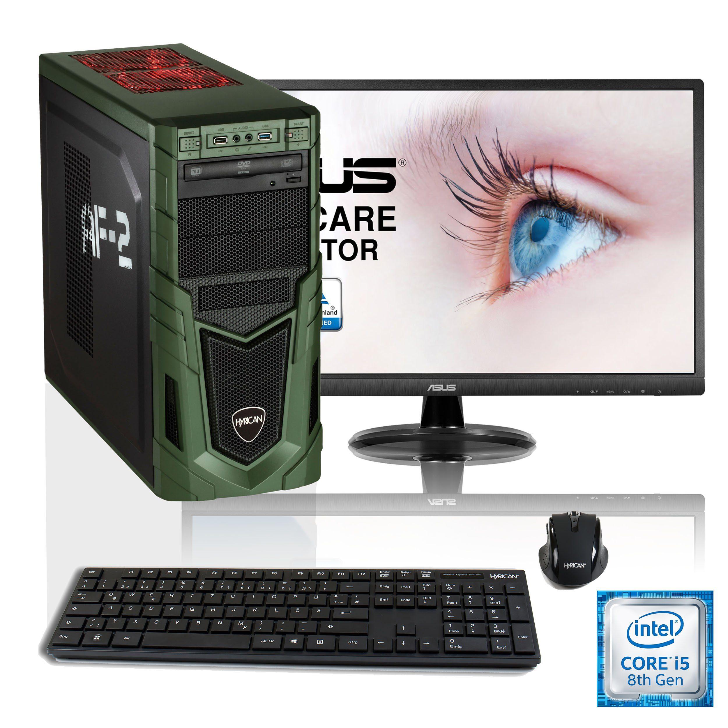 """HYRICAN i5-8400 16GB SSD + HDD GeForce® GTX 1060 + 24"""" Monitor »Military SET01529«"""