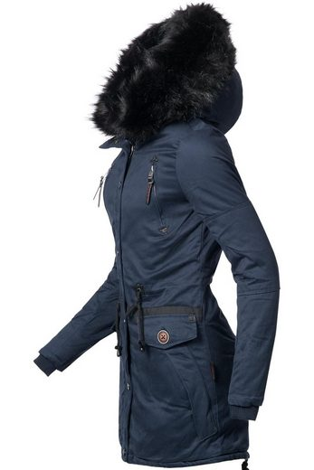 Blau Baumwollparka Warmer »rose Mit kapuze Marikoo Kunstpelz Wintermantel winter« shtdQr