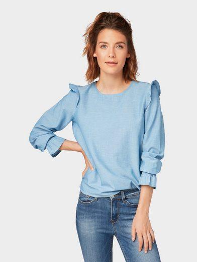 TOM TAILOR Denim Shirtbluse »Bluse mit Volantärmeln und Rüschen«