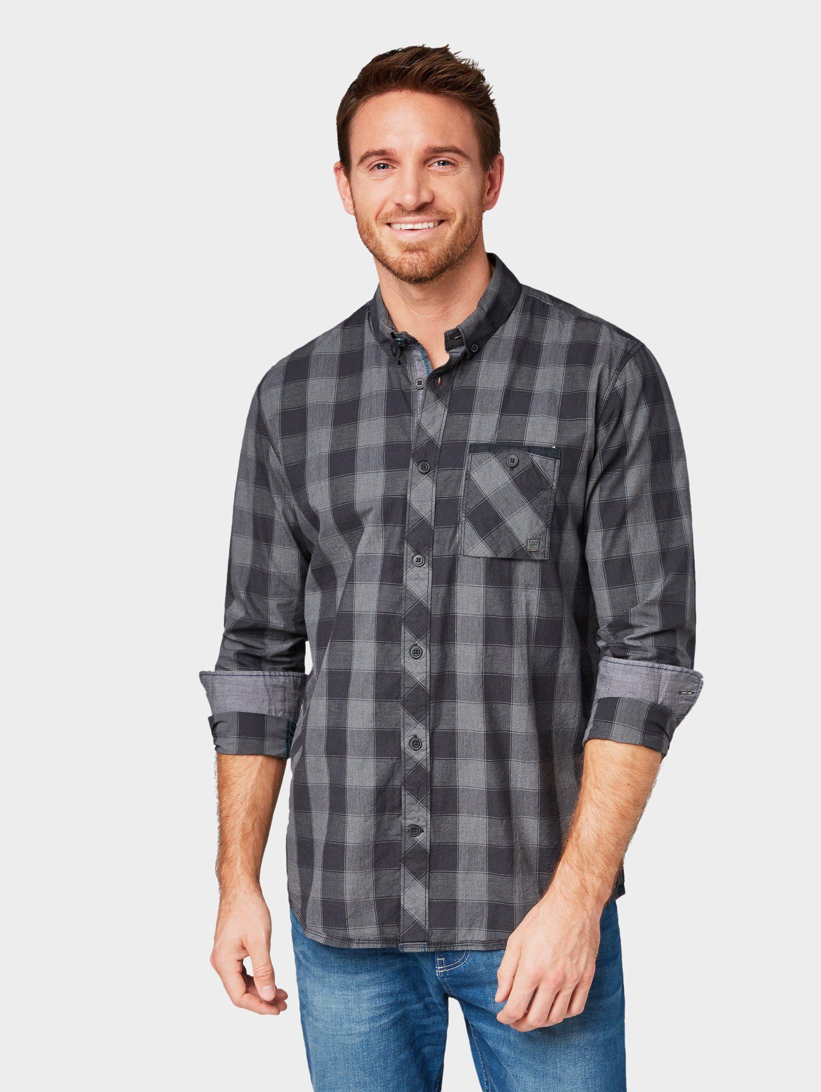 TOM TAILOR Denim Hemd »Hemd mit Muster«, Langärmlig mit Kragen und Knopfleiste zu schließen online kaufen   OTTO