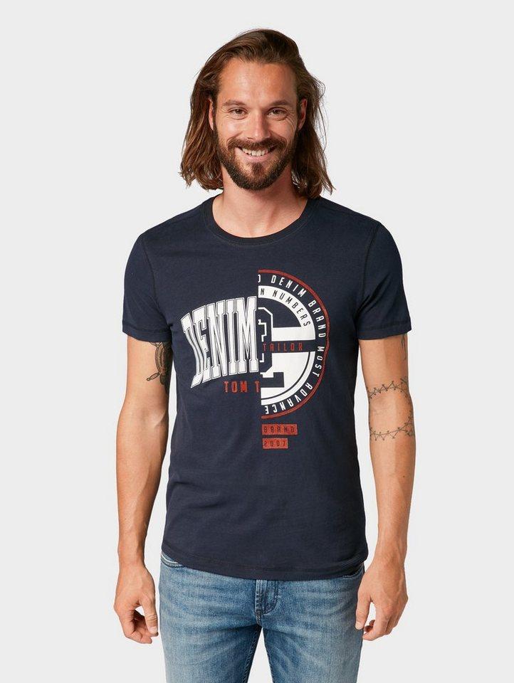 Herren TOM TAILOR Denim  T-Shirt T-Shirt mit zweiteiligem Print blau | 04060868496601