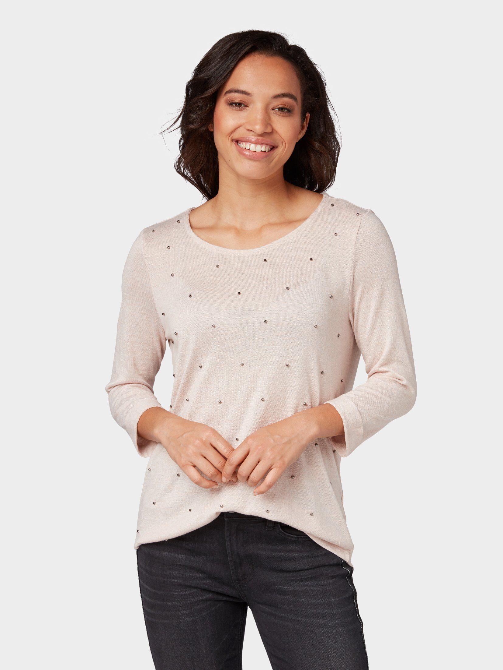TOM TAILOR 3/4-Arm-Shirt »Sweatshirt mit Perlen«