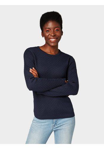 Damen Tom Tailor Denim Rundhalspullover Pullover mit Zopfmuster blau | 04060868495871