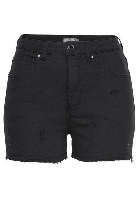 Hosen - AJC Shorts aus Jeansqualität mit Destroyed Effekten › schwarz  - Onlineshop OTTO