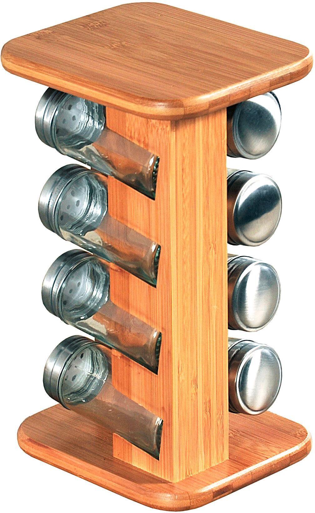 KESPER Gewürzkarussell aus FSC-zertifiziertem Bambus mit 10 gefüllten Gewürzgläs