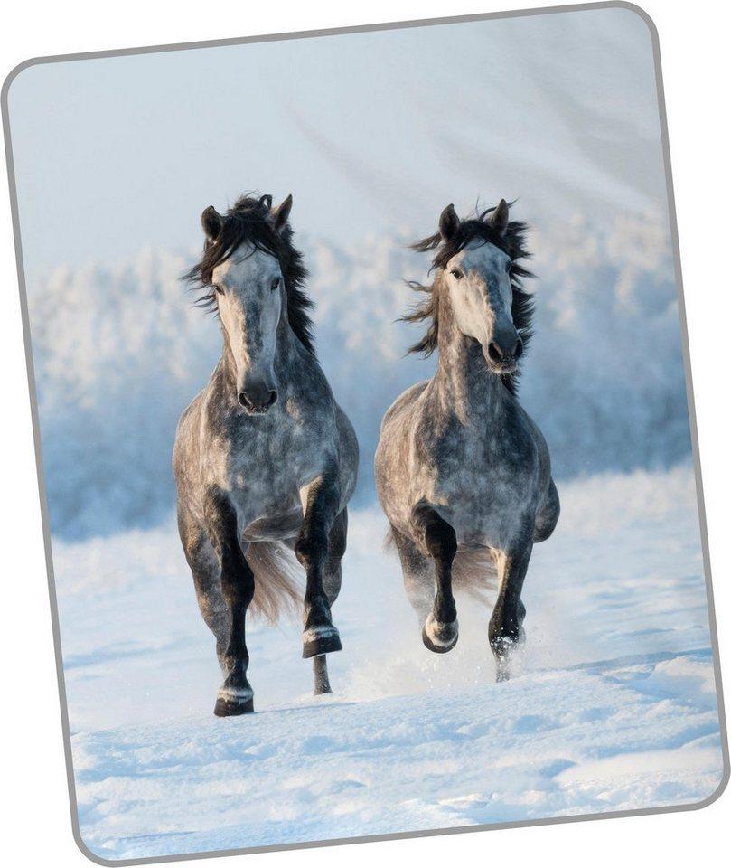 wohndecke snowhorses good morning mit pferde motiv. Black Bedroom Furniture Sets. Home Design Ideas