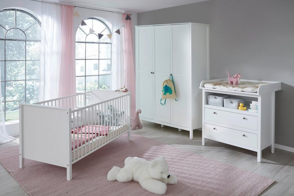 komplettzimmer 3 tlg set westerland babybett wickelkommode gro er 3 trg kleiderschrank. Black Bedroom Furniture Sets. Home Design Ideas