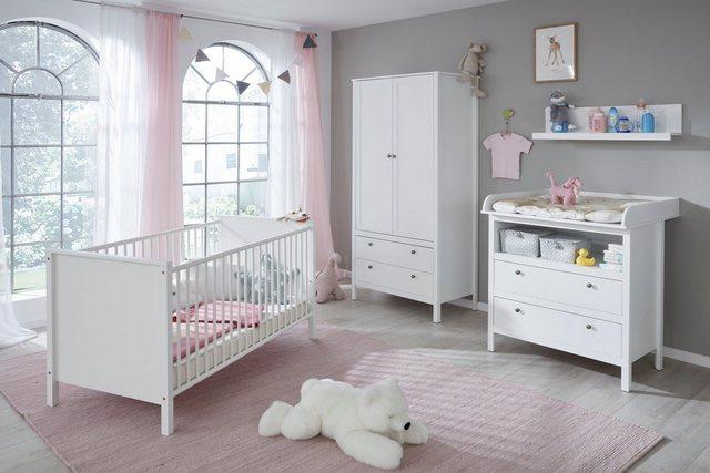 Babyzimmer - Babyzimmer Komplettset »Westerland«, (4 tlg) Bett Wickelkommode 2 trg. Schrank Wandbord  - Onlineshop OTTO