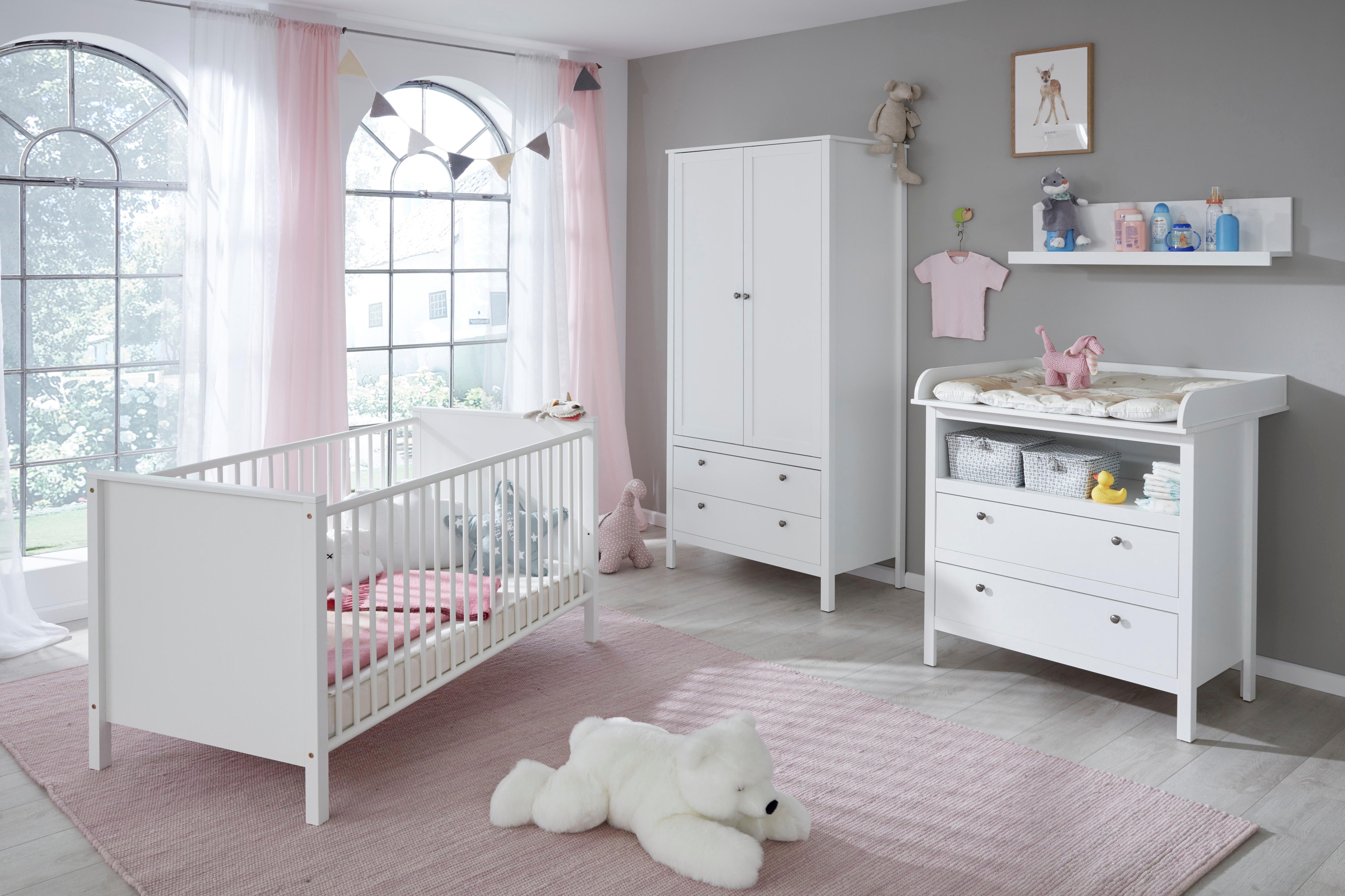 Komplettzimmer (4-tlg. Set) »Westerland« Babybett + Wickelkommode + 2-trg. Kleiderschrank + Regal in weiß