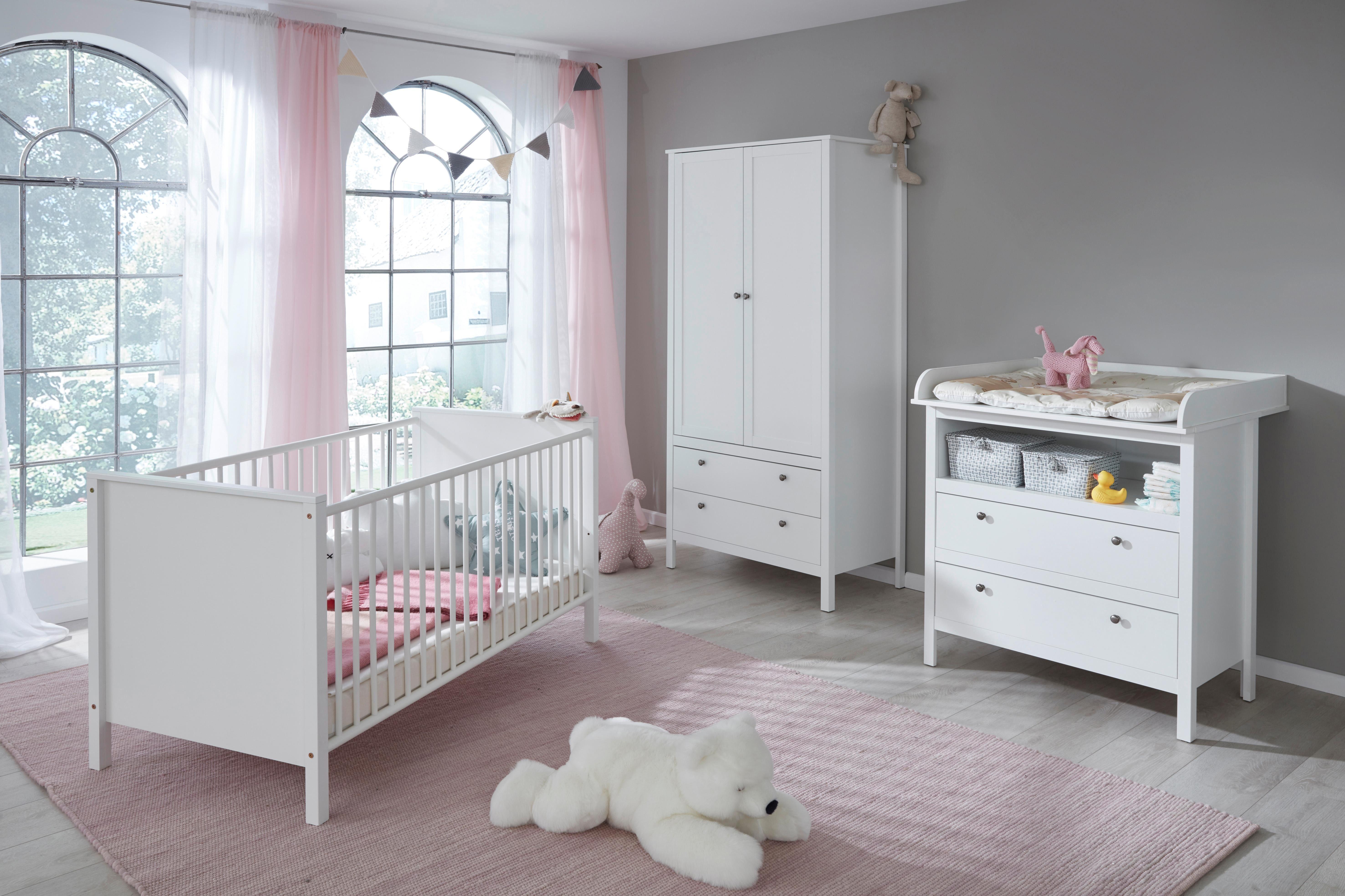 Komplettzimmer (3-tlg. Set) »Westerland« Babybett + Wickelkommode + 2-trg. Kleiderschrank in weiß