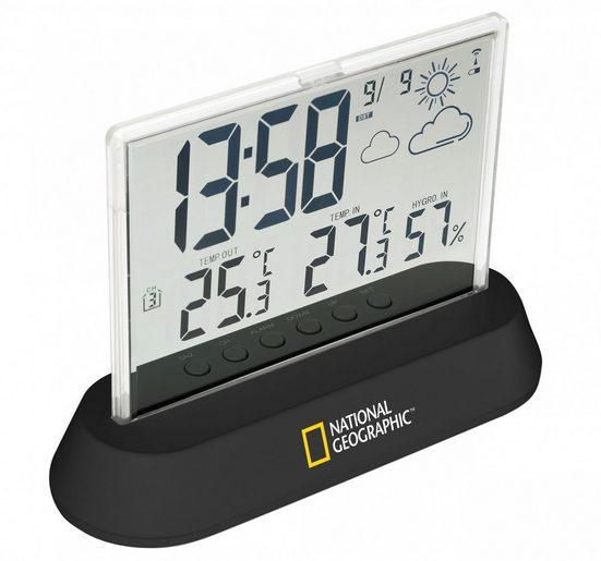 NATIONAL GEOGRAPHIC Wetterstation »Transparent mit DCF Funkuhr und Außensensor«