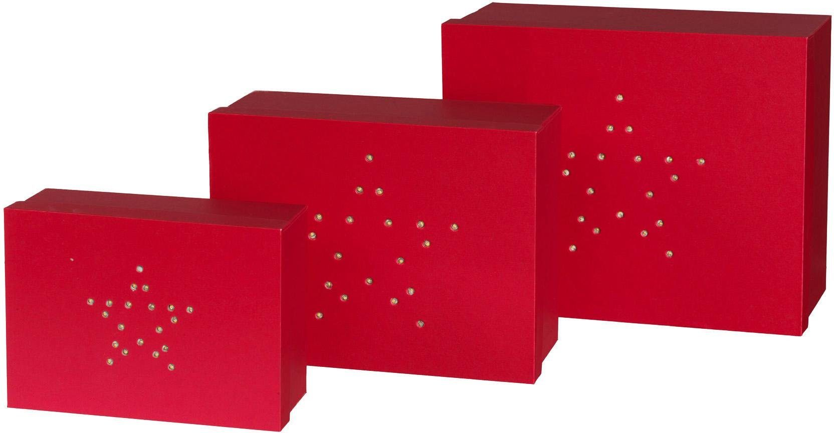 Geschenkbox 3er Set mit LED Beleuchtung