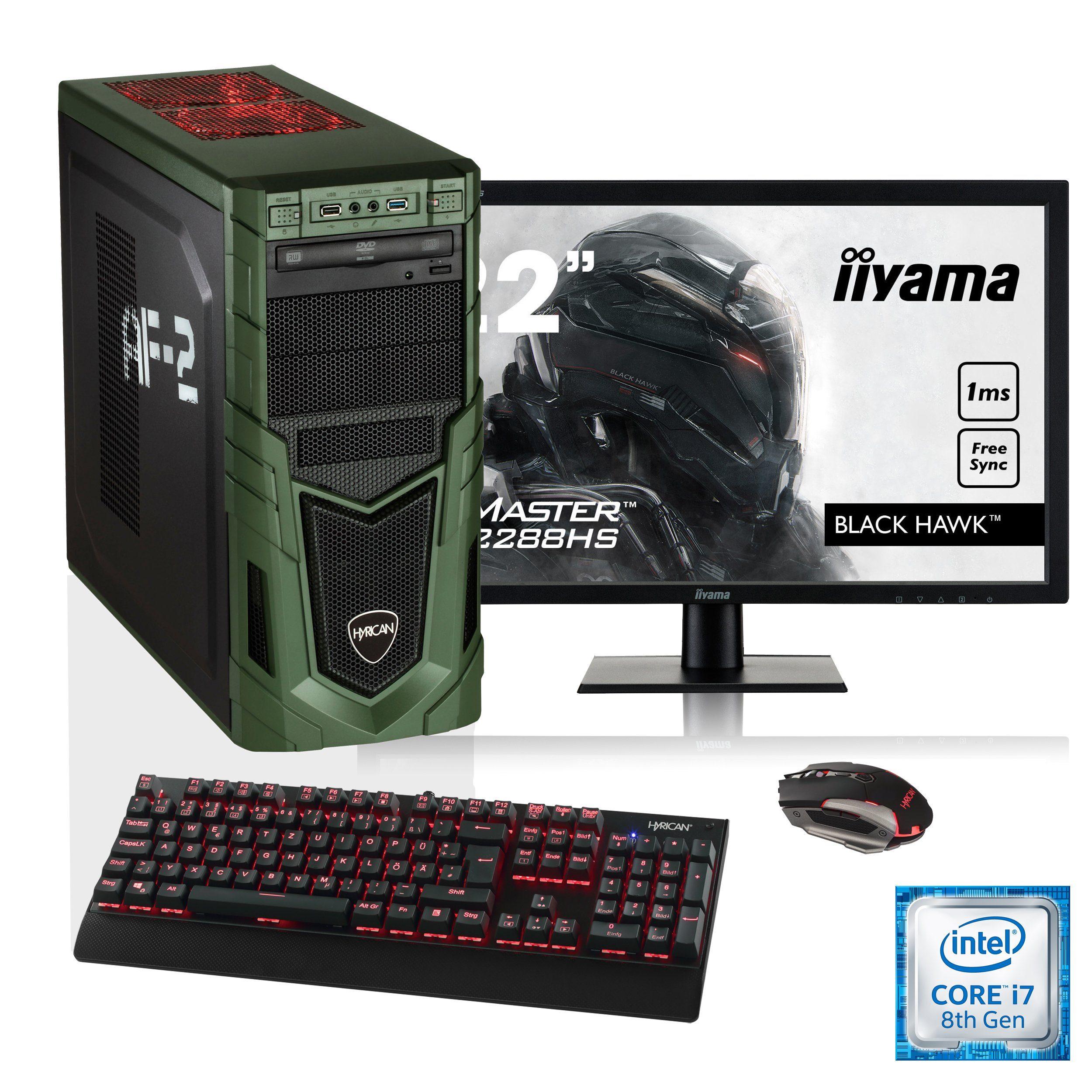 """HYRICAN i7-8700K 16GB SSD + HDD GeForce® GTX 1070 + 21,5"""" Monitor »Military SET1632«"""