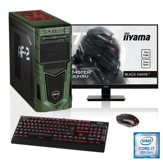 """HYRICAN i7-8700K 16GB SSD + HDD GeForce® GTX 1070 + 27"""" Monitor »Military SET1635«"""