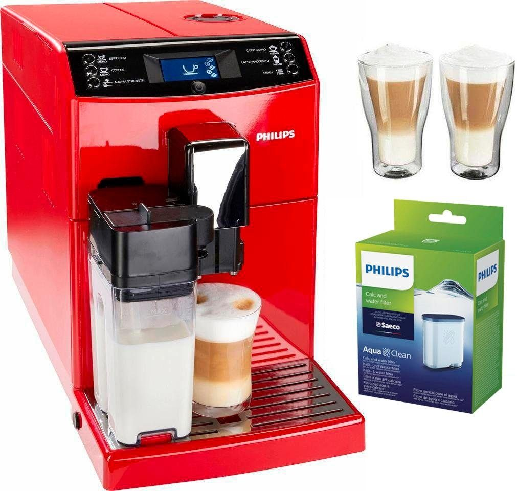 Philips Kaffeevollautomat EP3363/00, inkl. 2 Latte Macchiato Gläser und 1 AquaClean Filter