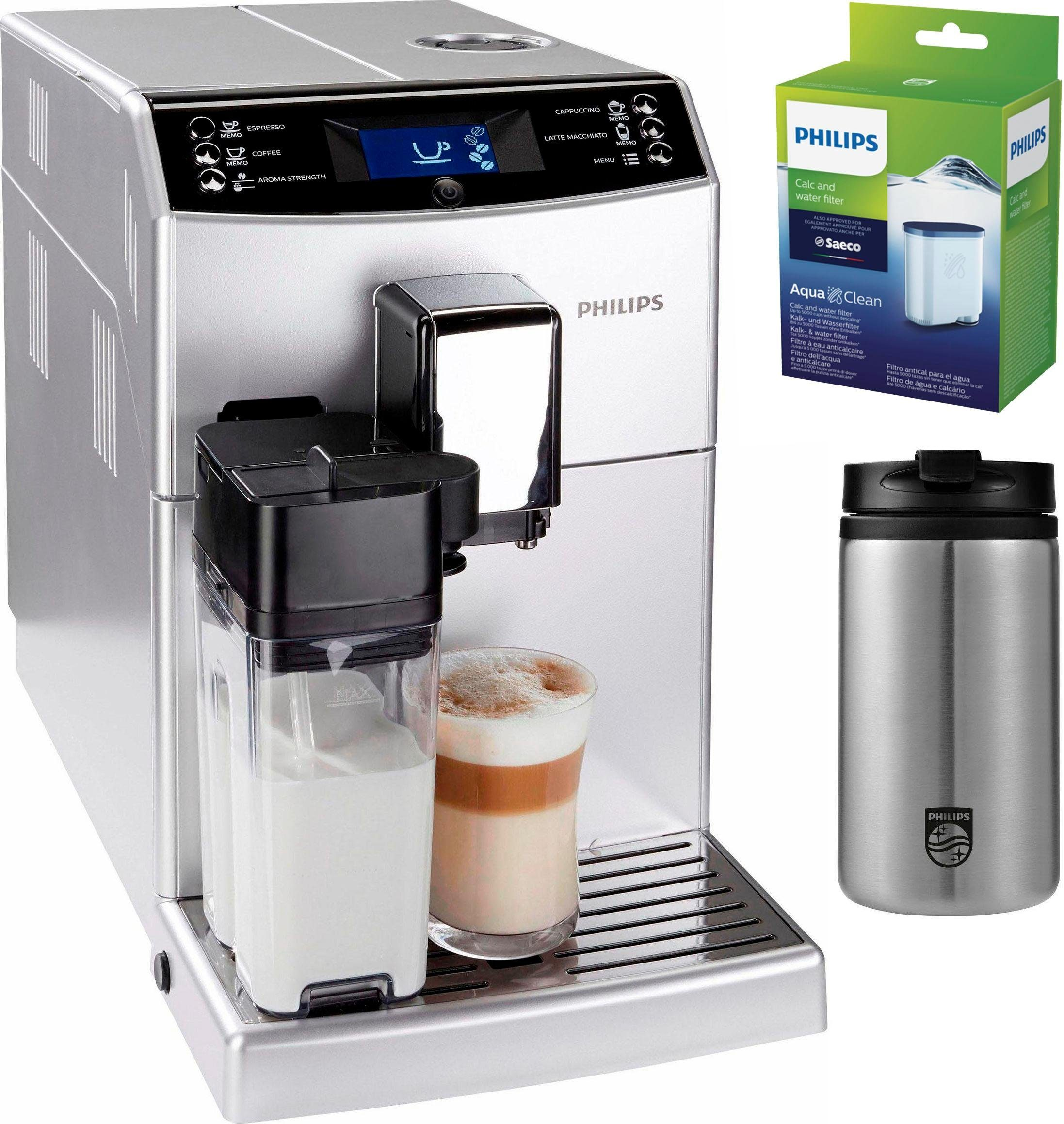 Philips Kaffeevollautomat 3100 Serie EP3551/10, inkl. 1 Thermobecher und 1 AquaClean Filter