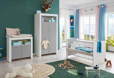 Babyzimmer-Komplettset »Lissabon«, (Set, 3-St), Bett + Wickelkommode + 2 trg. Schrank