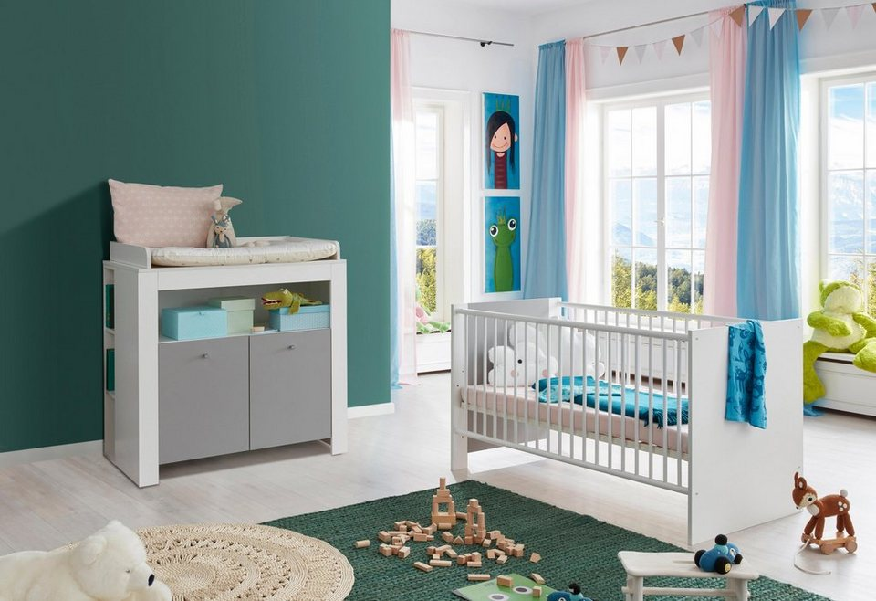 babym bel set lissabon 2tlg bett wickelkommode. Black Bedroom Furniture Sets. Home Design Ideas