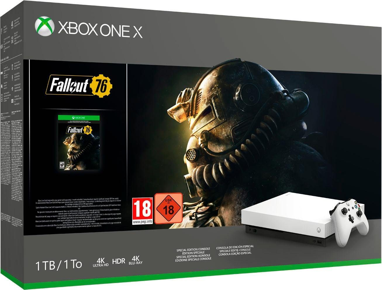 Xbox One X 1TB (Bundle, inkl. Fallout 76 Robot White Special)