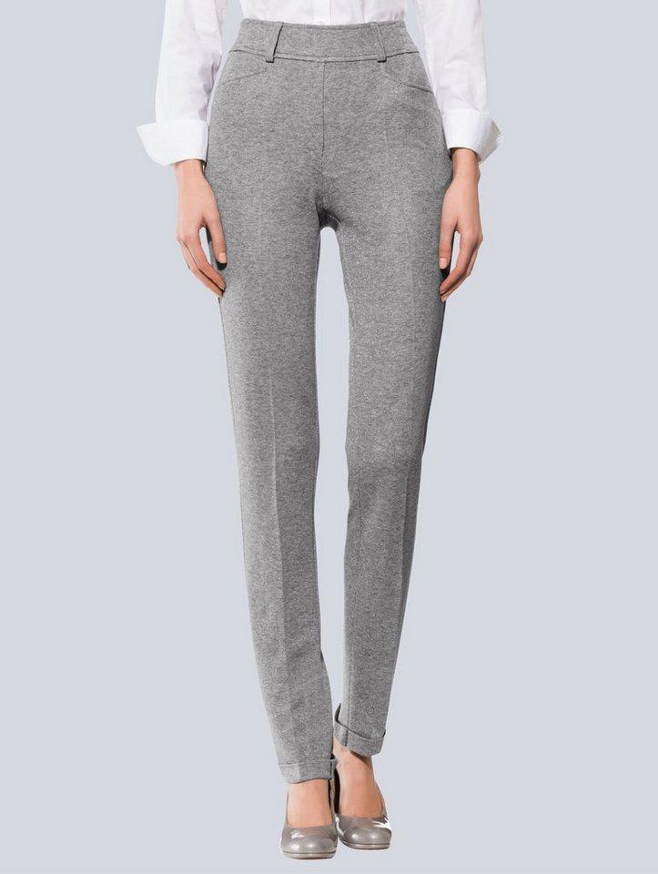 Damen Alba Moda Hose aus gewirkter Qualität mit Glanzgarn grau | 04055717370058