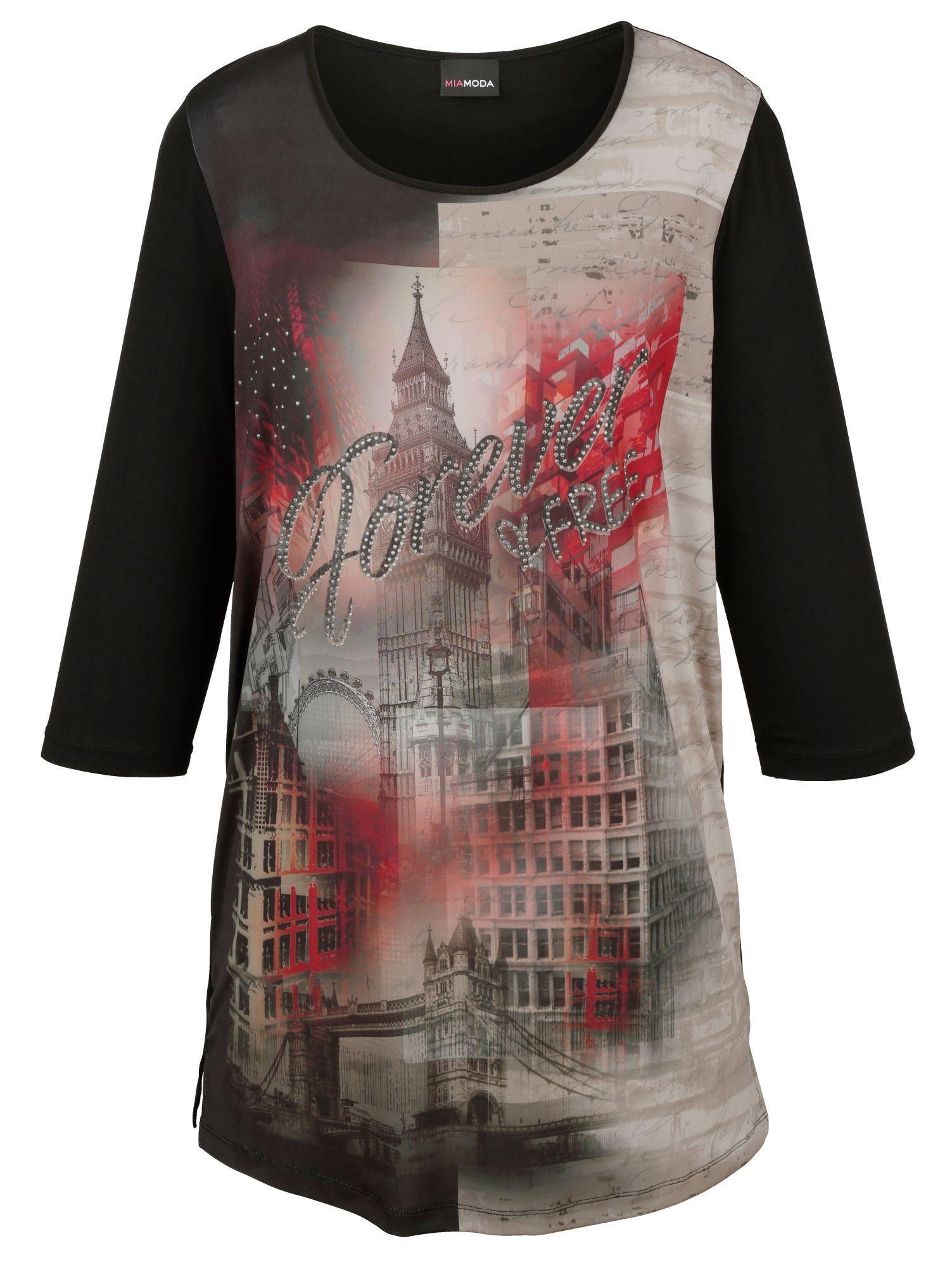 Le Temps Des Cerises Damen Shirt Festival Oberteil T-Shirt mit Front-Druck Creme