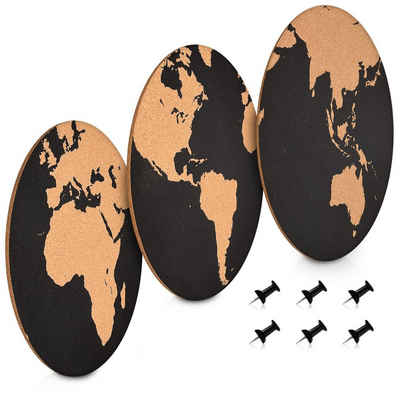 Navaris Pinnwand, 3x Korkwand Set - Weltkarte rund Pinboard Korkplatte Tafel - Korktafel World Map Designs - Memo Wand inkl. 6 Pins