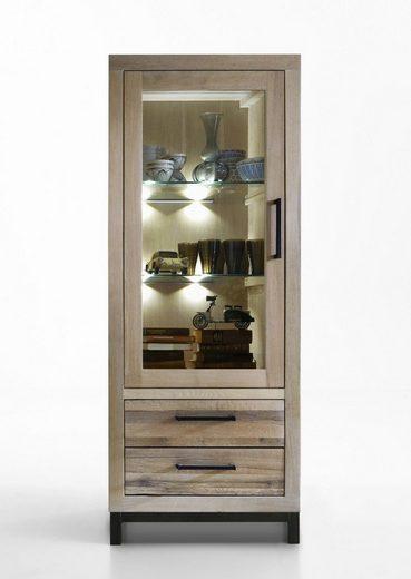 Kasper-Wohndesign Vitrine Massivholz Eiche sand mit oder ohne Beleuchtung »NELA«