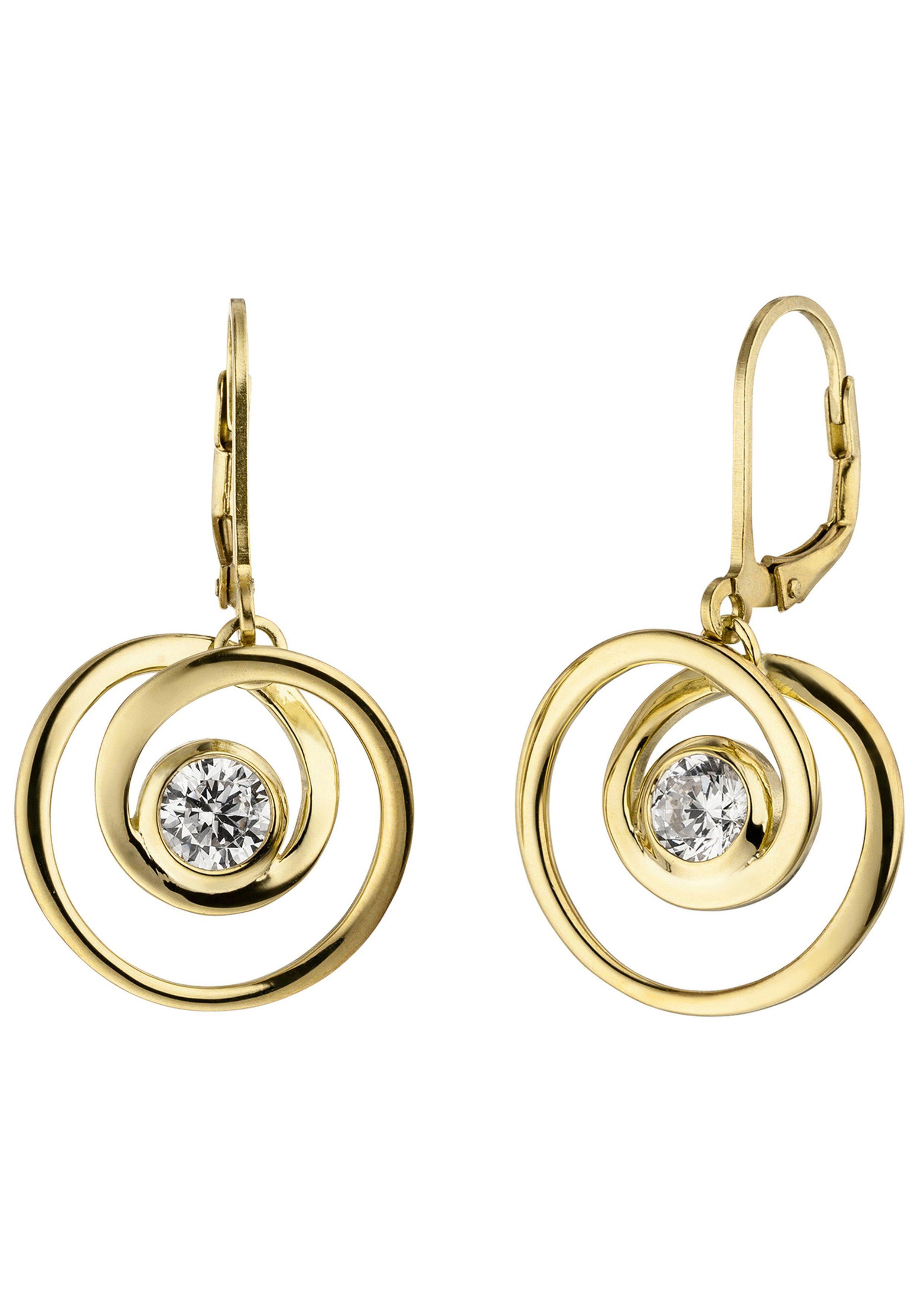 JOBO Paar Ohrhänger 925 Silber vergoldet mit 2 Zirkonia