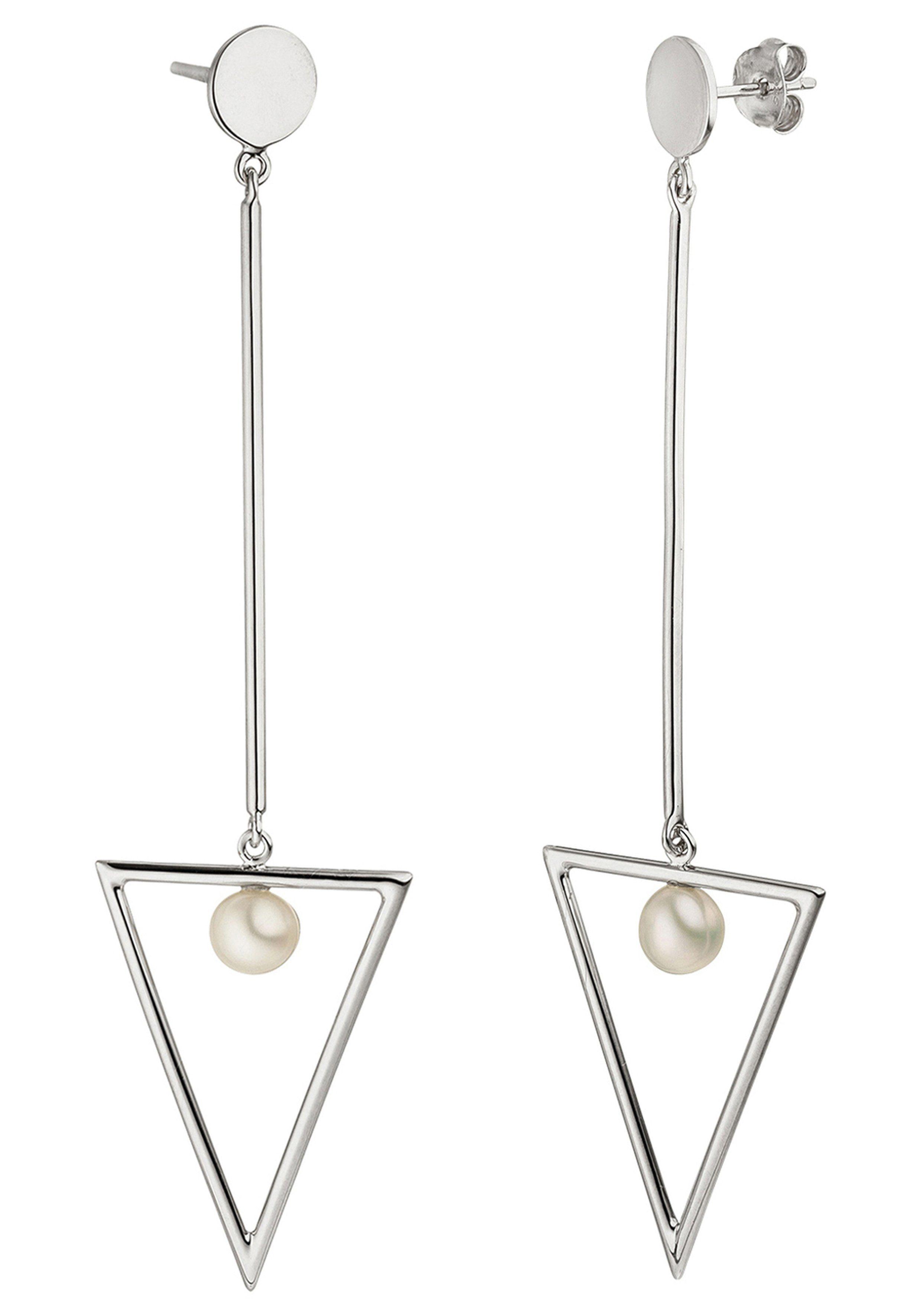 JOBO Perlenohrringe 925 Silber mit 2 Süßwasser-Zuchtperlen